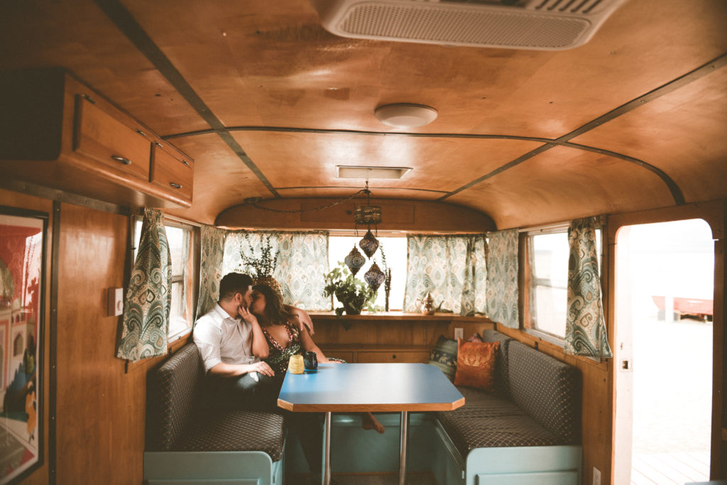 Engagement shoot inside an Airstream at Hotel Luna Mystica in Taos New Mexico